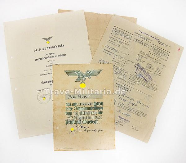 Urkunde Erdkampfabzeichen und Papiere LW-Felddivision
