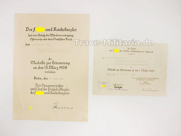 2er Urkundengruppe Anschlussmedaillen