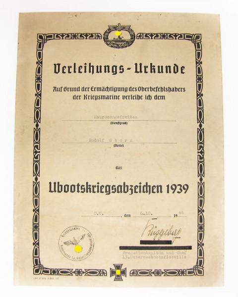 Urkunde zum Ubootkriegsabzeichen 1939