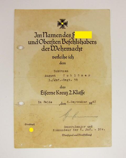 Urkunde Eisernes Kreuz 2. Klasse I.R. 58