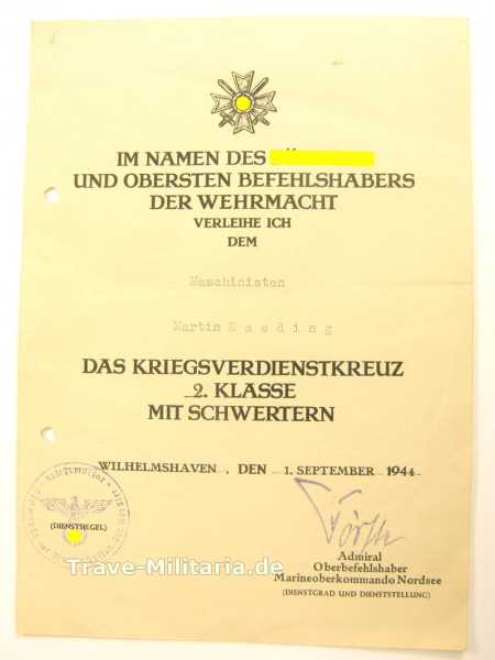 Urkunde Kriegsverdienstkreuz 2. Klasse mit Schwertern Kriegsmarine