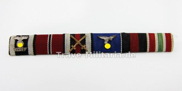 6er Feldspange mit Wiederholungsspange zum EK 2 eines Luftwaffensoldaten