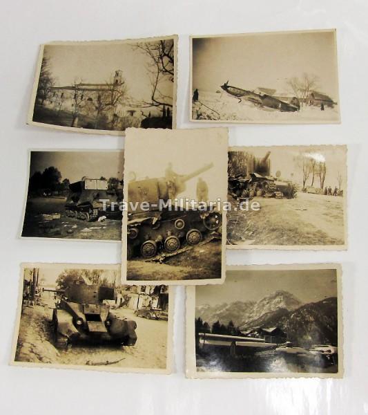 5 Fotos Russische Panzer und 1 Flugzeug