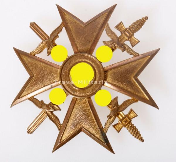 Spanienkreuz in Gold mit Schwertern