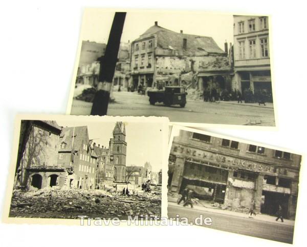 3 Fotos von Bombenschäden