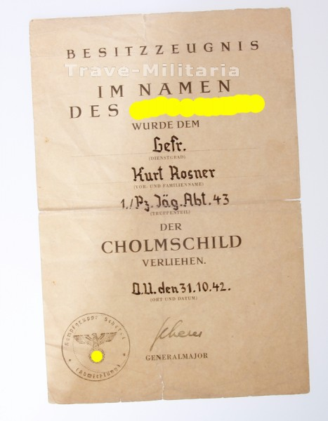 Nachlass Urkunde Cholmschild