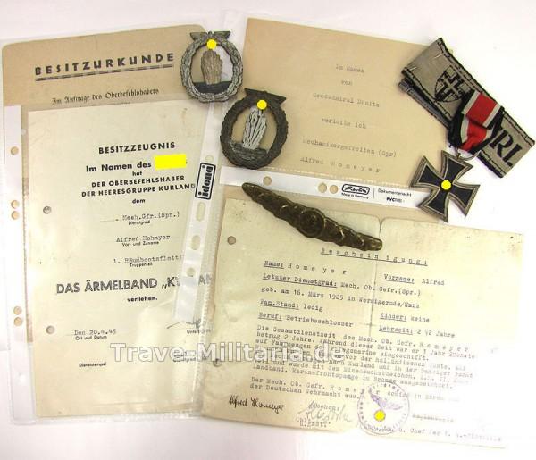 Orden und Urkunden Kriegsmarine Kurland-Kämpfer