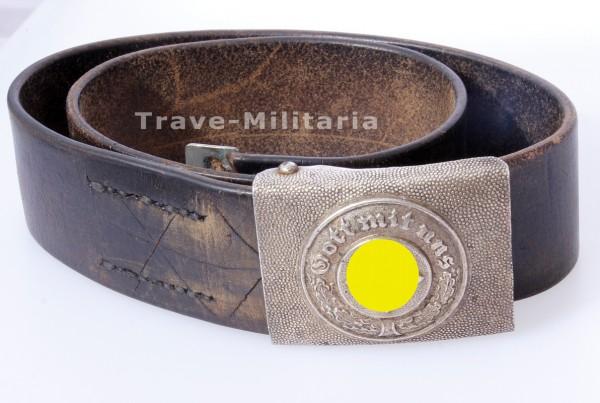 3 Reich Polizei Koppelschloß mit Ledergurt