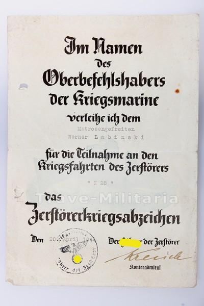 Verleihungsurkunde zum Zerstörerkriegsabzeichen