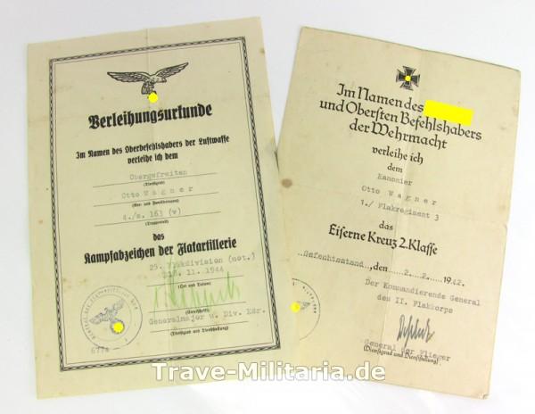 Urkundennachlass eines Otto Wagner EK und Flakkampfabzeichen Luftwaffe