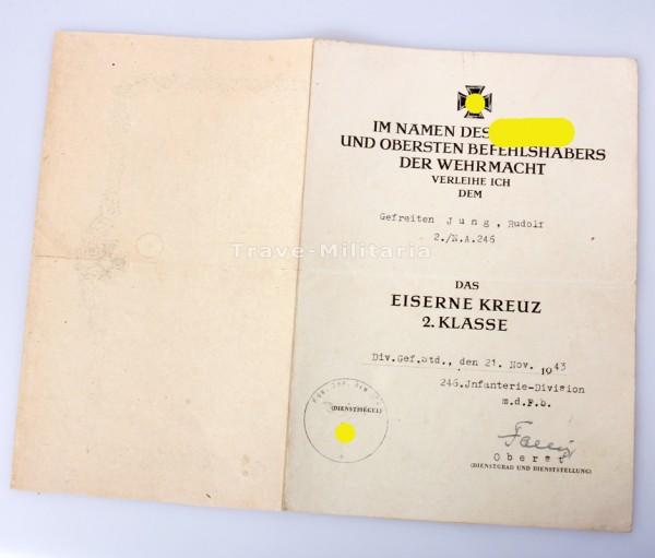 246 Infanterie Division - Urkunde und Divisionsbericht