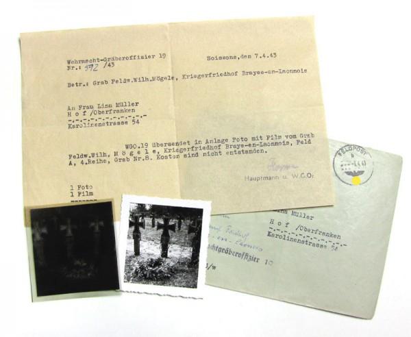 Schreiben und Fotos von Soldatengrab