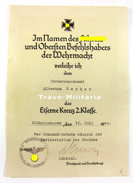 Urkunde 2. Klasse Kriegsmarine