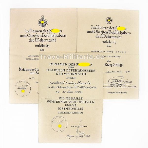 3 Urkunden schwere Artillerie Abteilung (mot) 850