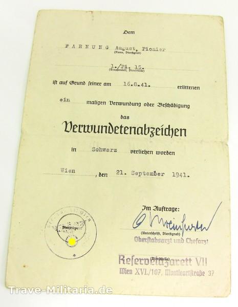 Einzelurkunde Verwundetenabzeichen in Schwarz Pionier-Btl. 15