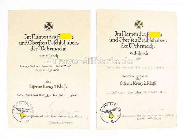 Urkunden EK 2 und EK 1 Gren.Regt. 666