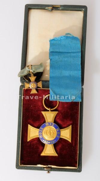 Preußen Königlicher Kronen-Orden Kreuz 4. Klasse im Etui mit Knopflochdeko