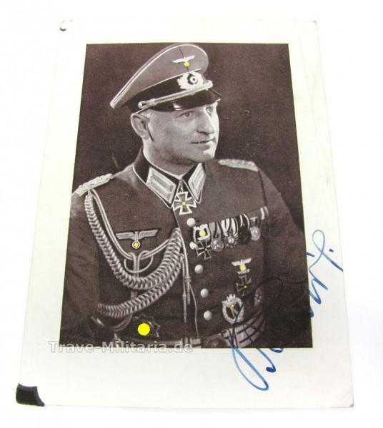 Autogramm von Ritterkreuzträger Eugen Baur