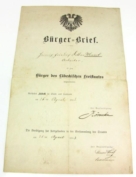 Bürgerbrief der Hansestadt Lübeck von 1903