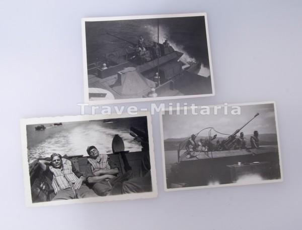 3 Fotos einer Besatzung einer Siebelfähre Mai 1943