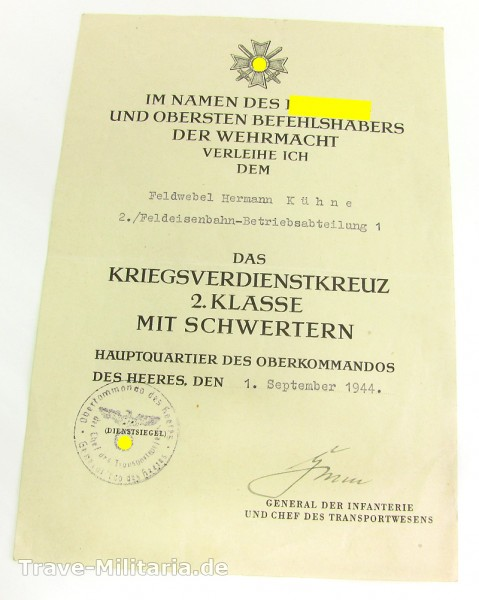 Einzelurkunde zum Kriegsverdienstkreuz 2. Klasse mit Schwertern Feldeisenbahn-Betriebsabteilung 1