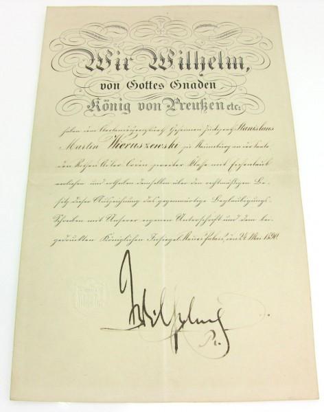 Urkunde zum Roten Adler Orden 2. Klasse mit Eichenlaub von 1890