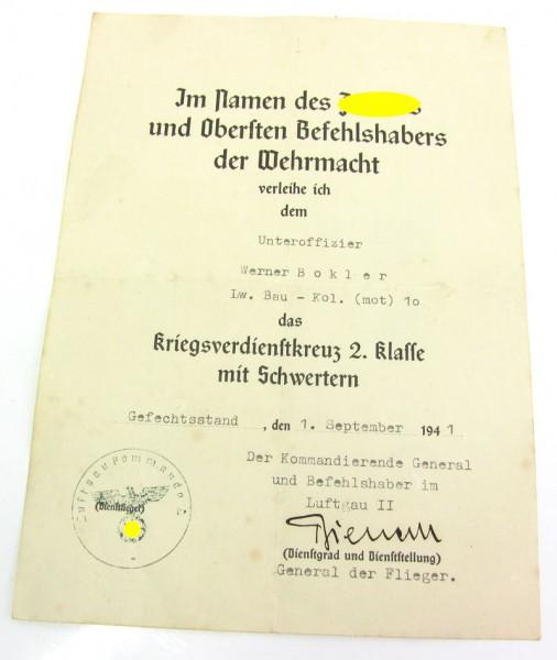 Urkunde zum Kriegsverdienstkreuz 2. Klasse der Luftwaffe