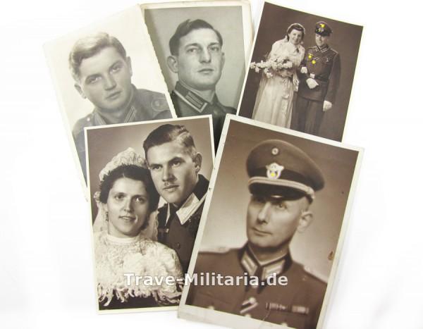 5 Portraitfotos von Trägern des Kriegsverdienstkreuzes 2. Klasse