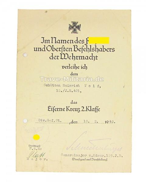 Urkunde zum Eisernen Kreuz 2. Klasse I.R. 421
