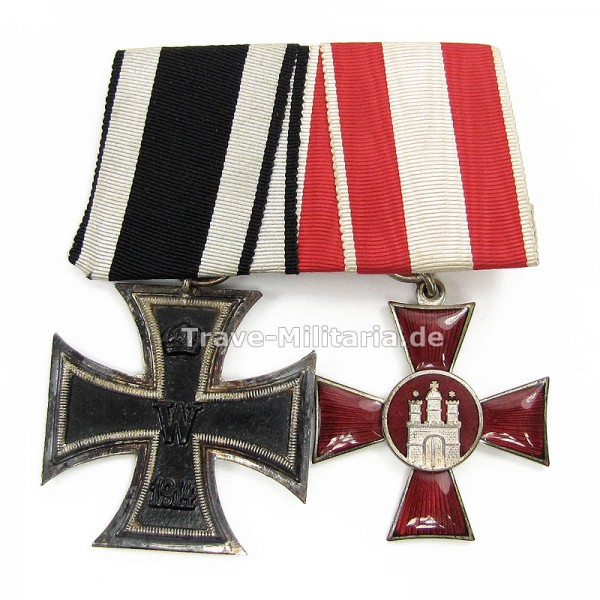 2er Ordenspange EK 2 1914 und Hamburger Hanseatenkreuz