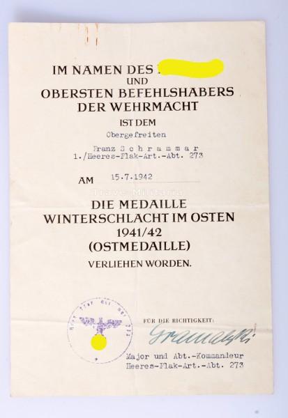 Urkunde Medaille Winterschlacht im Osten Heeres-Flak-Art. Abt. 273