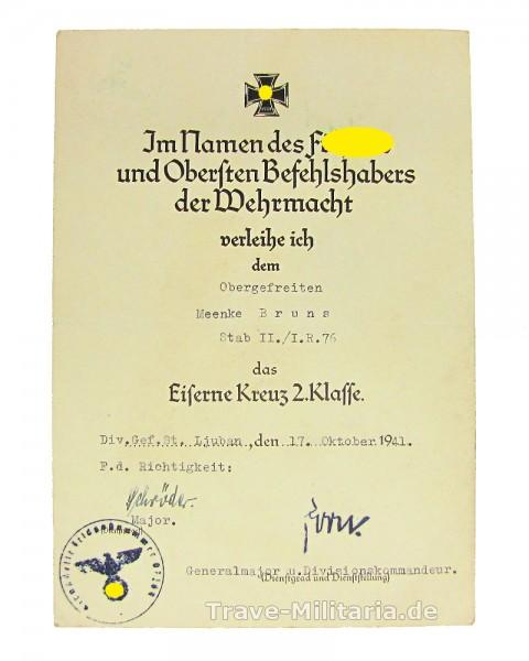 Urkunde zum Eisernen Kreuz 2. Klasse I.R.76