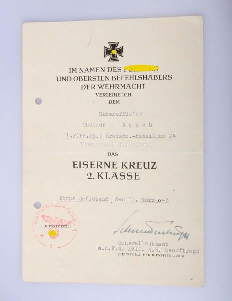 seltene Urkunde Eisernes Kreuz 2. Klasse am Kessel Stalingrad
