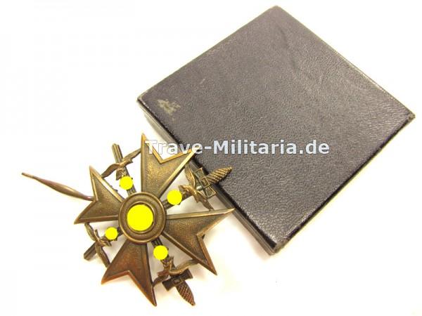 Spanienkreuz in Bronze mit Schwertern im blauen Karton