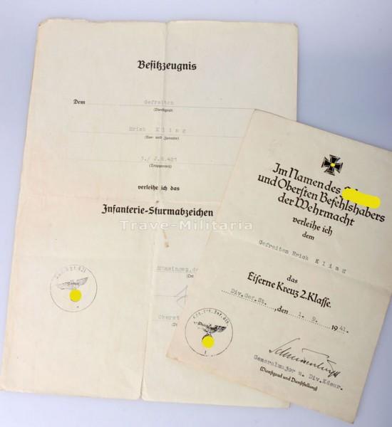 Nachlass Kling Eisernes Kruez 2. Klasse, Große Urkunde Infanteriesturmabzeichen