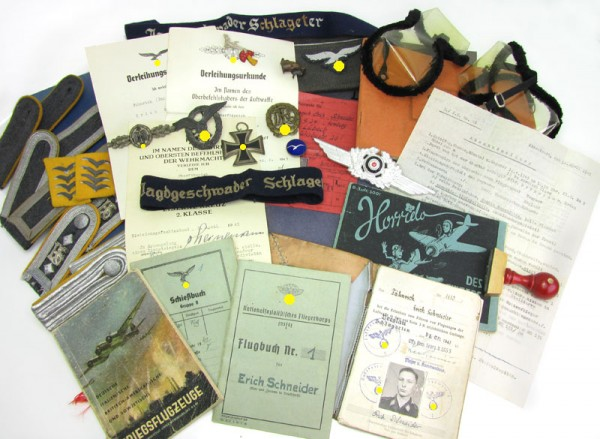 large military lot of a young fighter pilot, Uniform, cuff titles, Medals, Papers JG 26 Schlageter