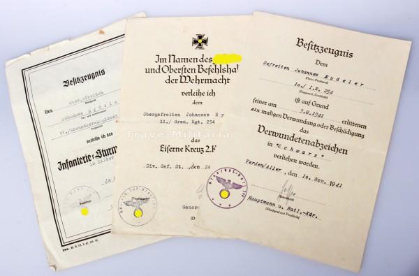 Urkundengruppe Eydeler Grenadier-Regiment 254 ISA Vordruck