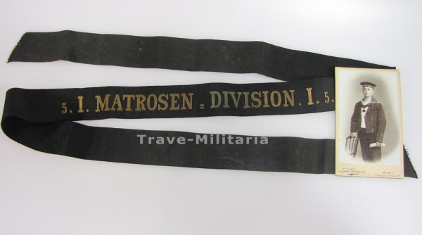 Kaiserliche Marine Mützeband 5.I.Matrosen-Division I.5 mit Trägerfoto