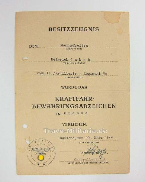 2 Urkunden und Führerschein 30. Infanterie-Division