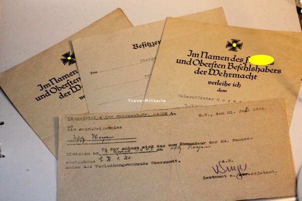 Urkundengruppe Hoyer 1. Kavallerie- Division & 24. Panzer- Division