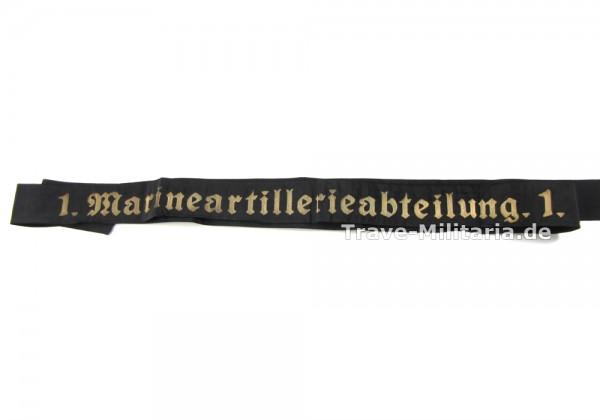 Kriegsmarine Mützenband 1. Marineartillerieabteilung.1