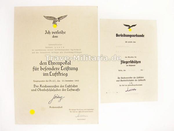 2 Urkunden von Stukaflieger Ehrenpokal der Luftwaffe