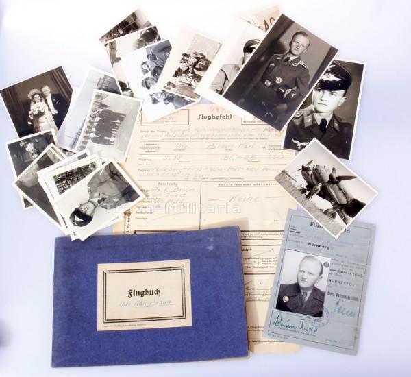 Flugbuch und Fotos Flugzeugführer Karl Braun Nürnberg