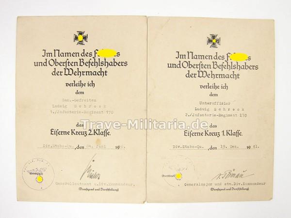 Urkunden EK 2 und EK 1 Infanterie-Regiment 170