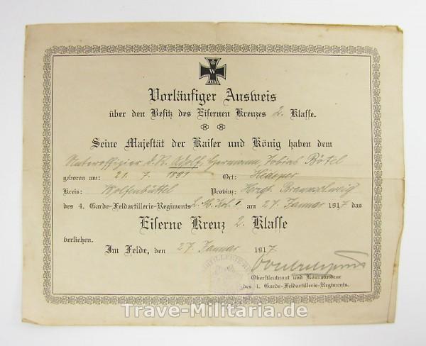 Vorläufiger Ausweis zum Eisernen Kreuz 2. Klasse 1914 Garde Feldartillerie