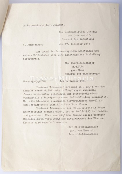 Vorschlag Verleihung des Ritterkreuzes des Eisernen Kreuzes - Abschrift