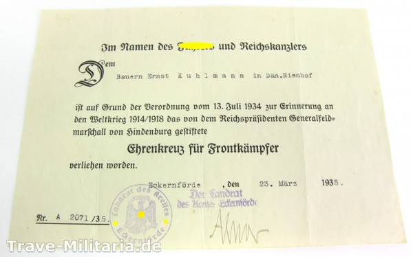 Urkunde zum Ehrenkreuz für Frontkämpfer