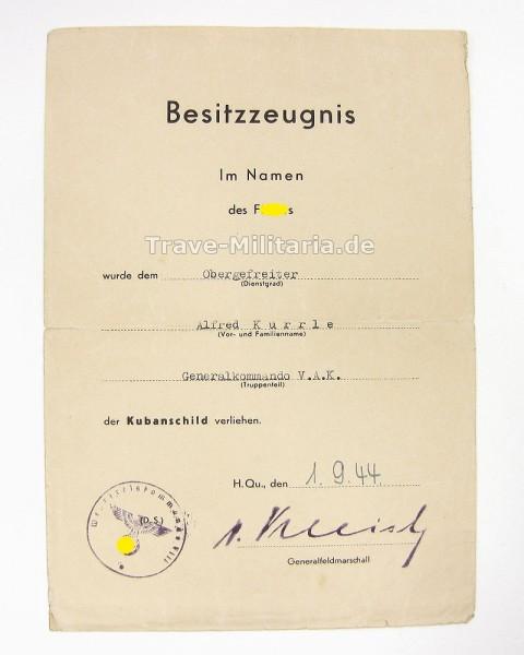 Urkunde zum Kubanschild Generalkommando V.A.K.