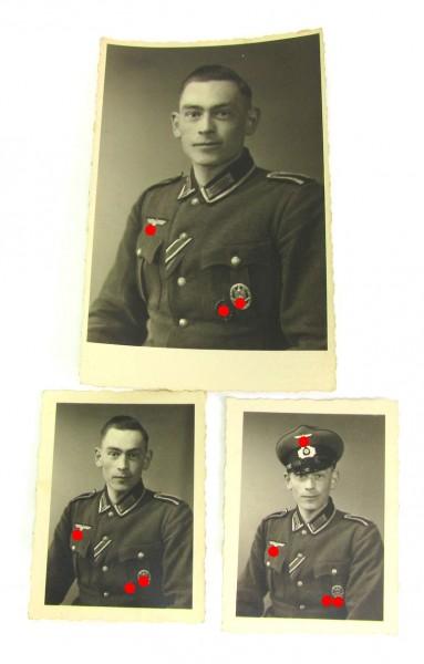 3 Portraits eines Pionier-Unteroffiziers