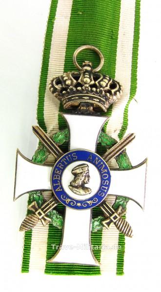 Sachsen Albrechtsorden Ritterkreuz 1. Klasse mit Schwertern und Krone am Band